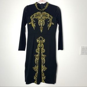 Vickie & Lucas Black Mesh Sleeve Embroidered Dress